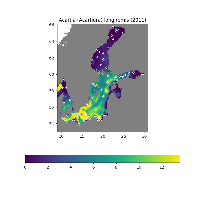 Map showing the abundance of Acartia longiremis in the Baltic in 2011